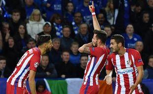 Saul Niguez célèbre son but face à Leicester, mardi 18 avril.