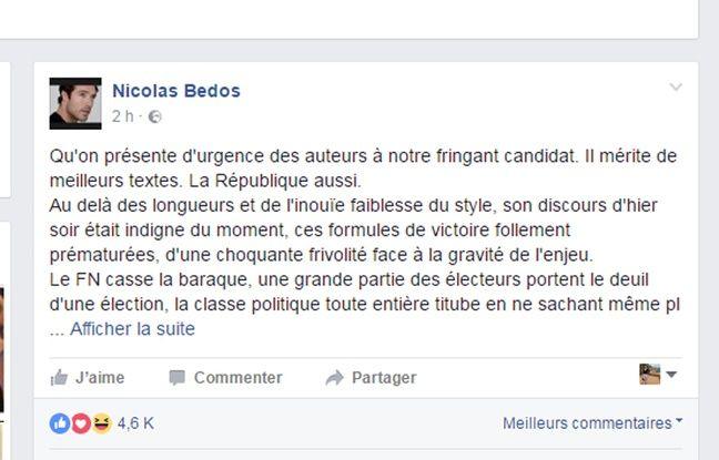 Capture d'écran du compte Facebook Nicolas Bedos.