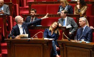 Roland Lescure, Olivia Grégoire et Bruno Le Maire députés LREm, lors du débat sur la loi Pacte, le 11 avril 2019.
