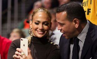 Jennifer Lopez et Alex Rodriguez, en Floride le 15 janvier 2018.