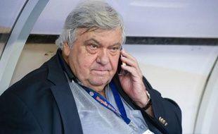 Le président du club de football de Montpellier, Louis Nicollin, avant la finale de la Coupe de la Ligue, le 23 avril 2011 au Stade de France, à Saint-Denis.