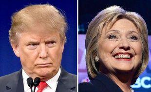 Donald Trump le 14 janvier 2016 et Hillary Clinton le 4 février (montage AFP)