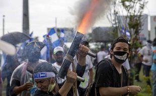 Des manifestants contre le président Ortega, le 12 juillet 2018 au Nicaragua.