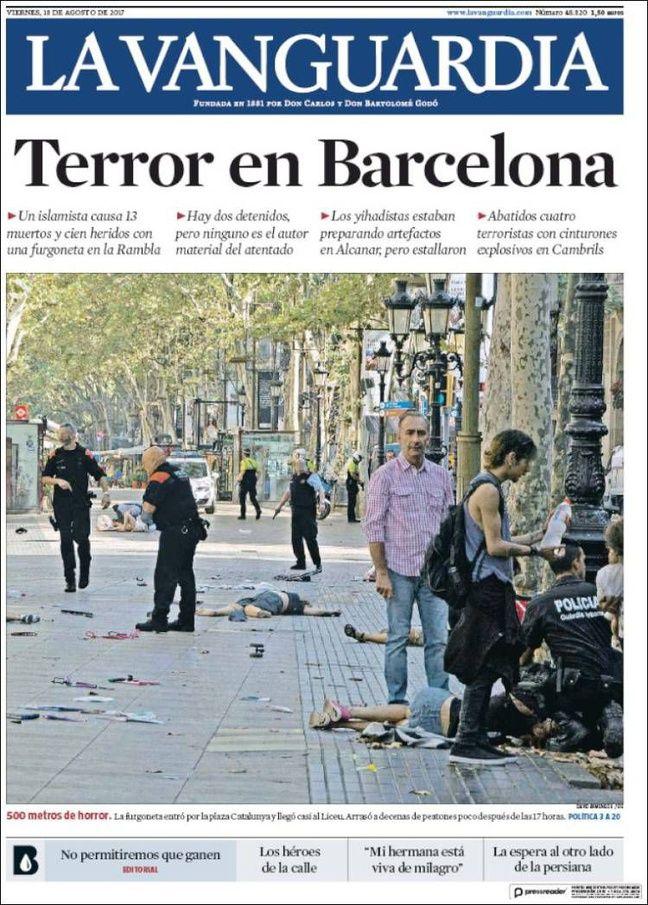 La une du journal «La Vanguardia» le 18 août 2017.