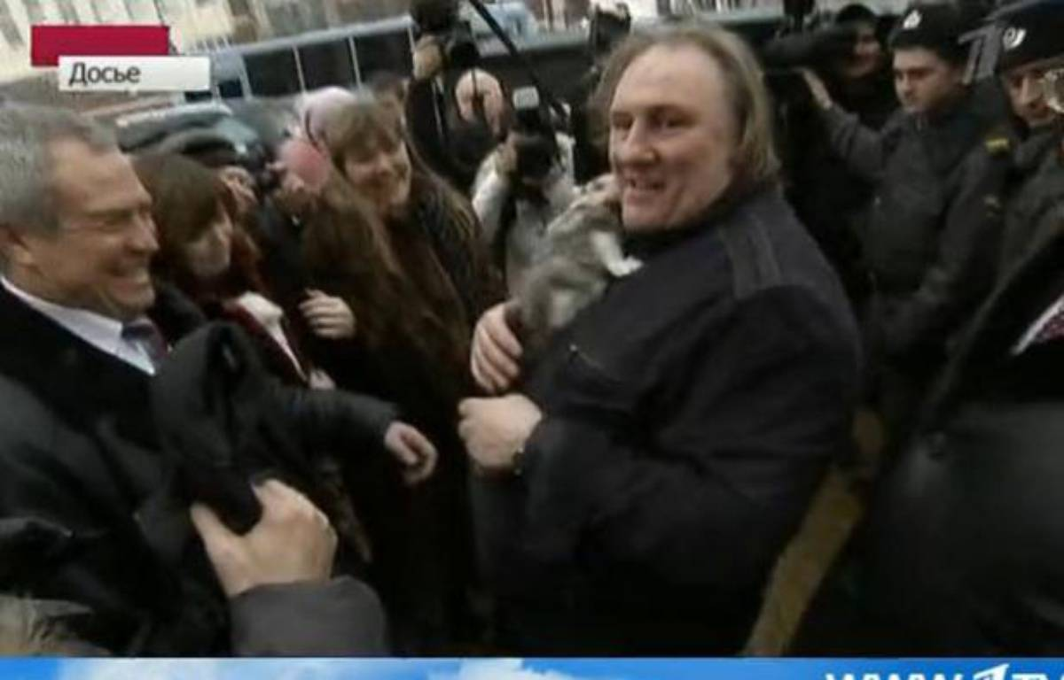 Gérard Depardieu à Moscou, le 21 février 2013. – Capture d'écran 1TV.ru