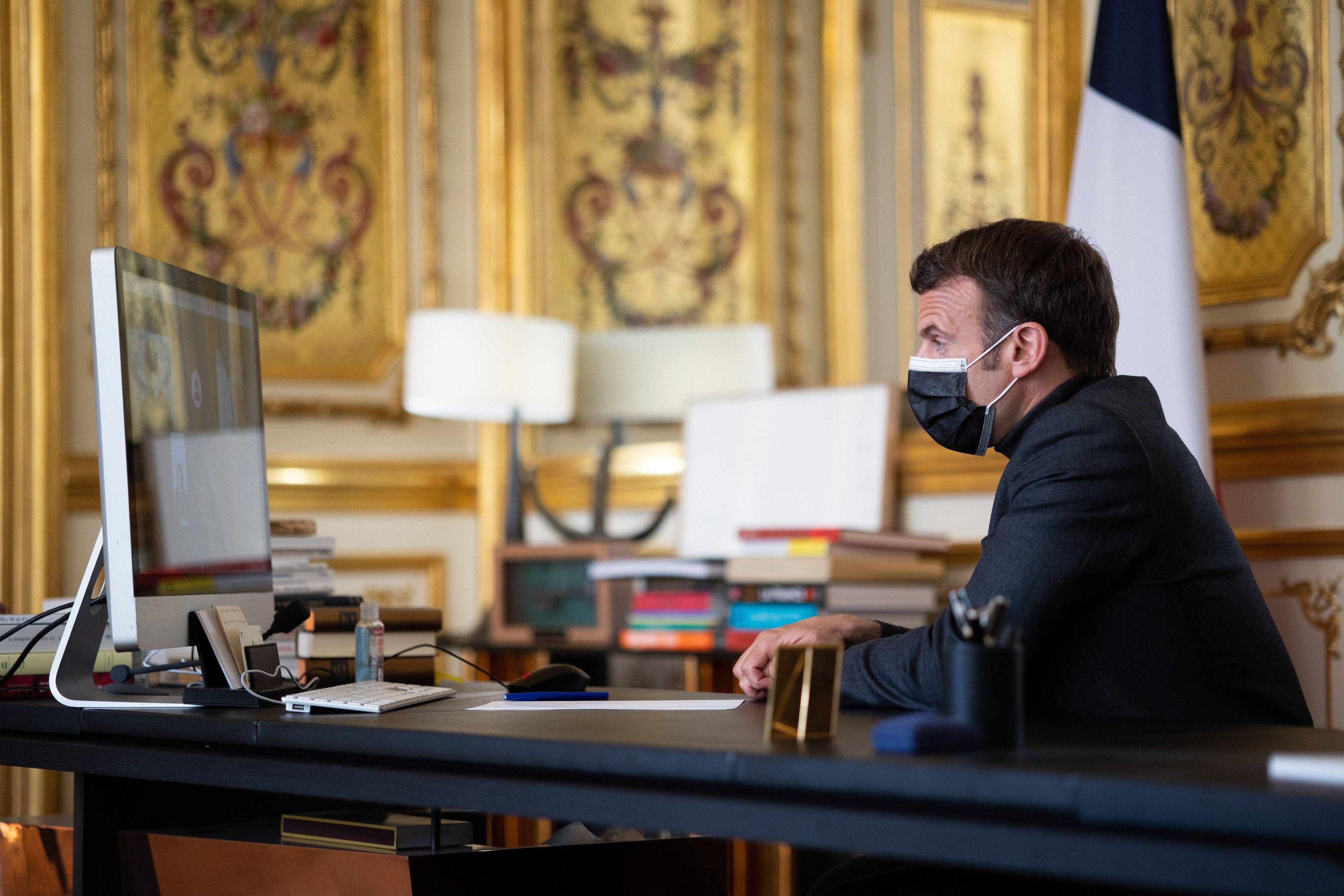 Emmanuel Macron à l'Elysée le 6 avril 2021 (illustration).