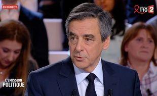 François Fillon sur le plateau de «L'Emission politique», le 23 mars 2017.