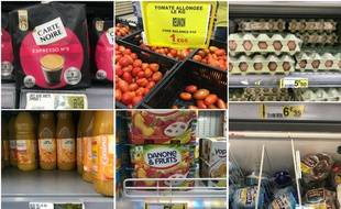 Fin décembre 2018, sélection aléatoire de produits dans un grand supermarché de l'ouest de La Réunion, où le prix de certaines denrées est 37% plus élevé qu'en métropole (chiffres Insee 2015).