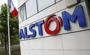 La façade du siège d'Alstom à Levallois Perret, près de Paris, le 27 avril 2014