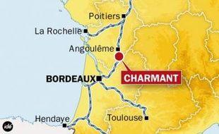 Carte de localisation de Charmant (Charente), où un accident entre deux trains de fret a entraîné l'interruption du trafic SNCF entre Bordeaux et Paris, le 20 mai 2009.