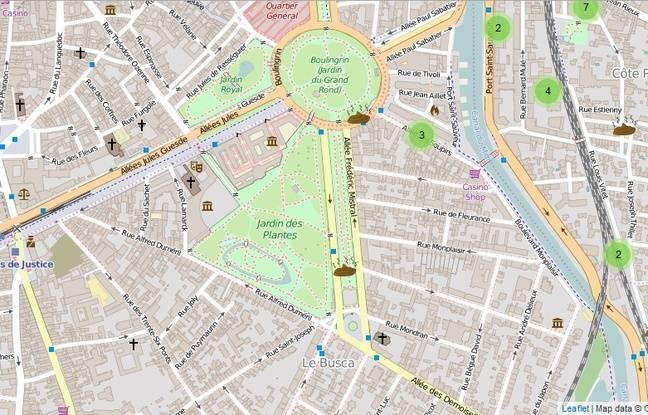 La carte des crottes signalées à Toulouse le dimanche 5 juin 2016 sur l'appli ByeBye Crottoir