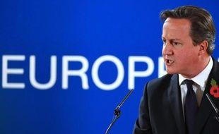 Le Premier ministre britannique David Cameron lors d'une conférence de presse au sommet de l'Union européenne à Bruxelles, le 24 octobre 2014
