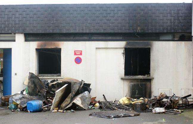 Un incendie s'est déclaré au centre commercial Torigné, à Rennes, dans la nuit du 18 au 19 novembre 2017.