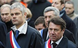 Laurent Wauquiez et Christian Estrosi côte à côteà la Marche républicaine du 11 janvier 2015 à Paris.
