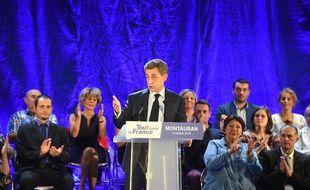 Nicolas Sarkozy lors d'un meeting à Montauban le 05 octobre 2016