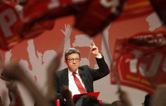 Lille, le 27 mars 2012. Jean-Luc Melenchon, candidat du Front de Gauche à l'élection présidentielle, donne un grand meeting de campagne à Lille Grand Palais devant plusieurs milliers de personnes.