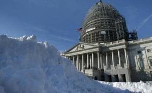 De la neige devant le Capitole, le 21 janvier 2016 à Washington