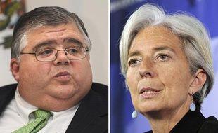 La ministre des finances française Christine Lagarde (droite) et le président de la Banque centrale mexicain(gauche), qui sont tous les deux candidats au poste de directeur général du FMI.