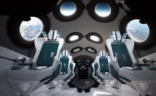 L'intérieur d'un véhicule spatial de Virgin Galactic.