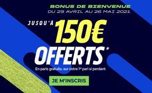Profitez de 150€ offerts en bonus de bienvenue jusqu'au 26 mai sur Parions Sport.