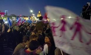 Manifestation des anti- «mariage pour tous», le 23 avril 2013, aux Invalides, à Paris.