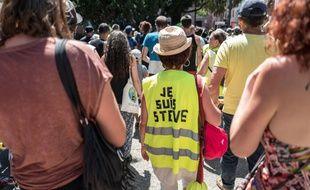 Des « gilets jaunes » à Toulouse lors de l'acte 38, le 3 août 2019.