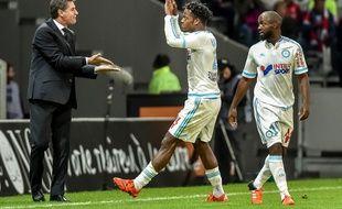Batshuayi et Diarra avec leur entraîneur Michel, lors de Lille-OM le 25 octobre 2015.