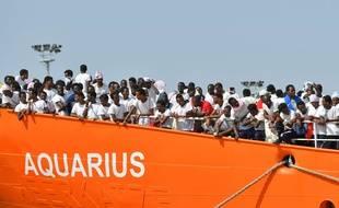 Le navire Aquarius, en juin 2018 après une opération de sauvetage.