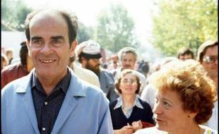 Photo prise le 11 septembre 1982 lors de la Fête de l'Humanité à La Courneuve, de Georges Marchais, alors secrétaire général du PCF, et de son épouse Liliane