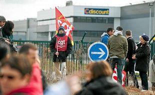 Manifestation de salariés de l'entreprise Cdiscount à Cestas