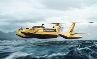 Un modèle du véhicule à effet de sol  proposé par Aqualines.
