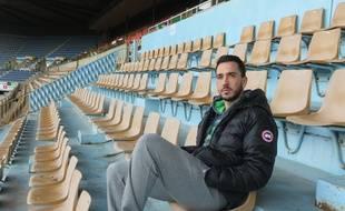 Strasbourg, le 7 janvier 2015 - Le joueur du Racing Jean-Philippe Sabo dans les tribunes de la Meinau.