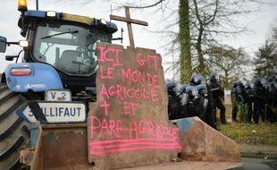 Manifestation d'agriculteurs près de la préfecture de Rennes, le 17 février 2016
