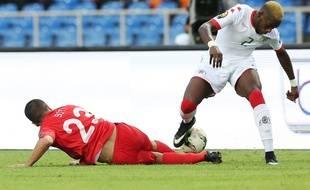 Le Burkina Faso de Steeve Yago a éliminé la Tunisie de Naïm Sliti en quart de finale de la Coupe d'Afrique des Nations, le 28 janvier 2017 à Libreville, au Gabon.
