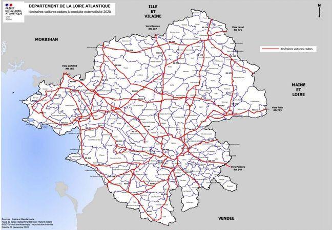 La carte de circulation des voitures-radars privées en Loire-Atlantique.