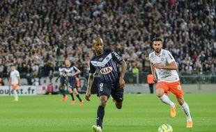 L'attaquant des Girondins, Diego Rolan, lors du match contre Montpellier, le 23 mai 2015 au Nouveau stade de Bordeaux.