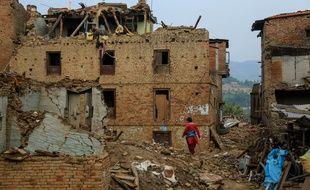 La ville de Sankhu, détruite par le séisme qui a frappé le Népal au début du mois de mai 2015.