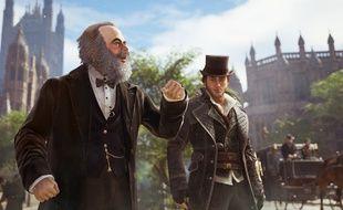 Jacob fait connaissance avec Karl Marx dans Assassin's Creed Syndicate.