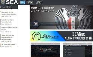 Capture d'écran du site de l'Armée électronique syrienne.
