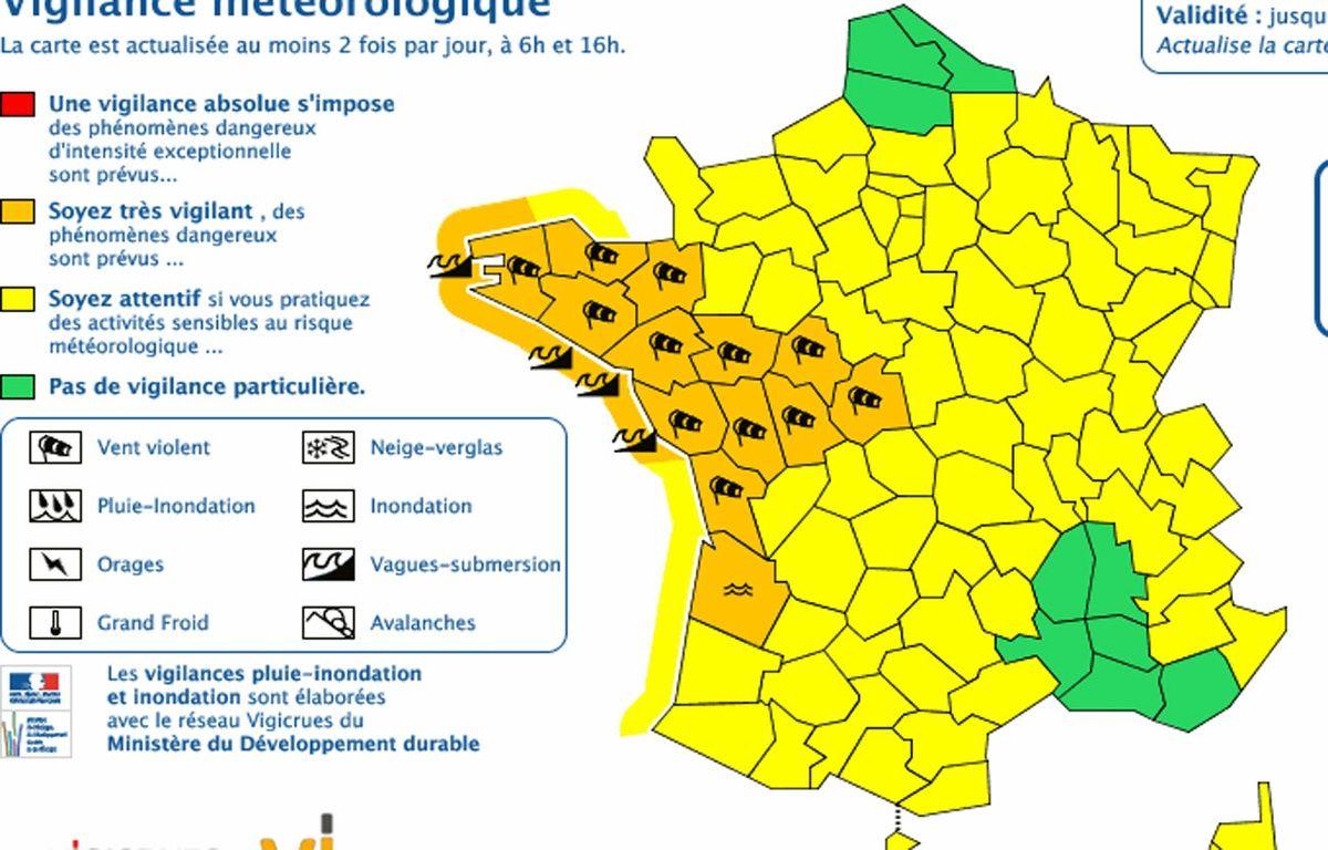 Météo France a étendu son alerte orange à douze départements, ce 13 février 2016. – METEO FRANCE