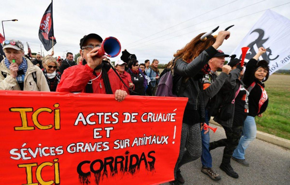 Des manifestants anticorrida à Rodilhan, dans le Gard, le 16 octobre 2016. – PASCAL GUYOT / AFP