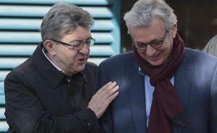 Le candidat de «La France insoumise», Jean-Luc Mélenchon et le secrétaire général du Parti Communiste français Pierre Laurent à Paris, le 24 février 2017.