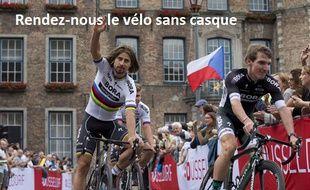 Peto Sagan, combo coupe de cheveux de rock star + maillot de champion du monde.