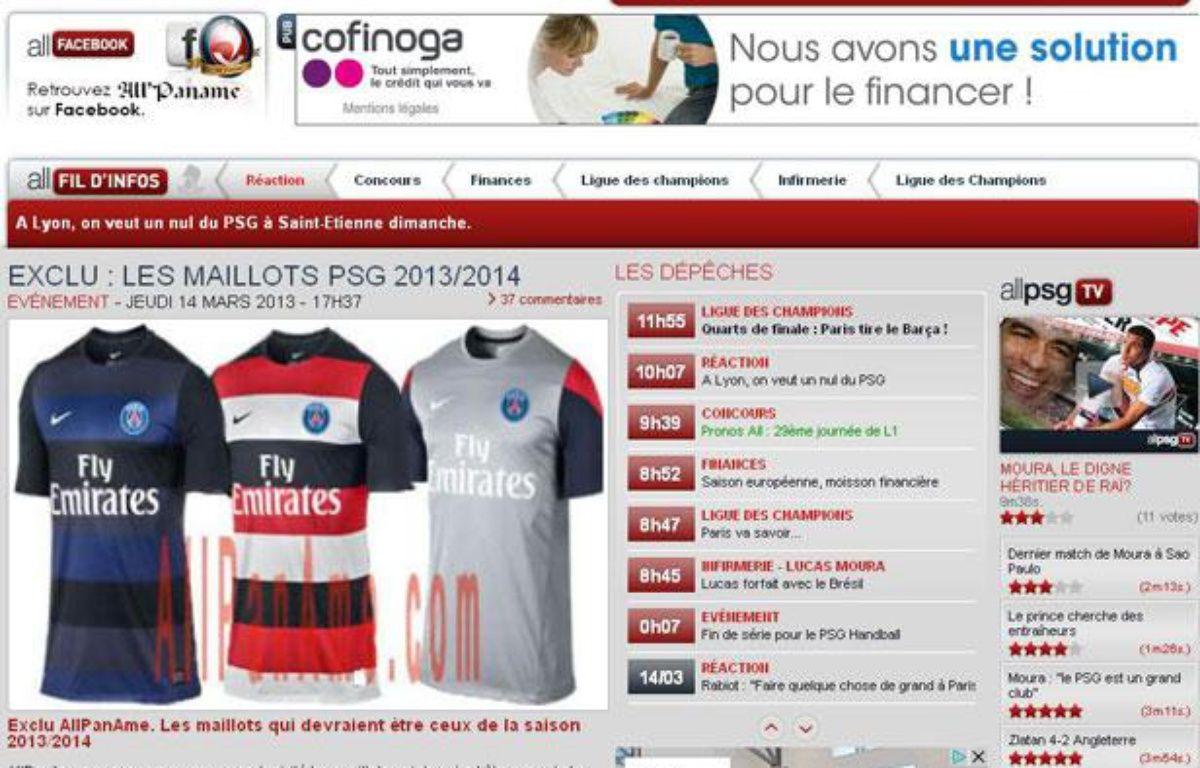 Le site allpaname.com a dévoilé les maillots 2013-2014 du PSG. – Capture d'écran 20 Minutes