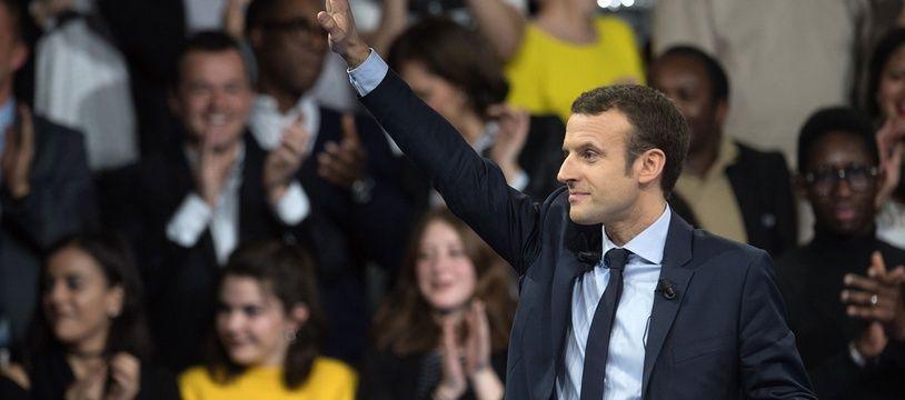 Emmanuel Macron lors de son meeting porte de Versailles en décembre 2016