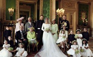 Photo de la famille royale à l'occasion du mariage du prince Harry et de Meghan Markle, en mai 2018.