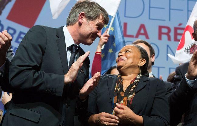 Vincent Peillon et Christiane Taubira lors d'un rassemblement