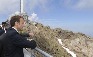 Emmanuel Macron à l'observatoire du Pic du Midi dans les Pyrénées le 26 juillet 2018.