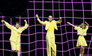 Le groupe lituanien The Roop lors de sa première répétition sur la scène de l'Eurovision, à Rotterdam (Pays-Bas), le 8 mai 2021.