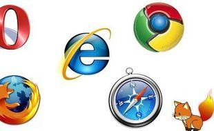 Les logos des principaux navigateurs (Internet explorer, Firefox, Safari, Chrome et Opera)